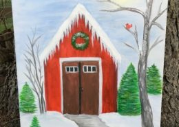 acrylic painting Barn in Winter by Gail Tefft