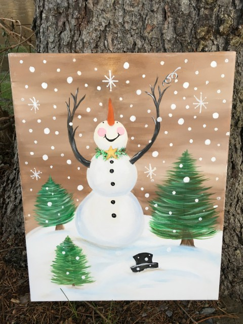 acrylic painting Winter Fun by Gail Tefft